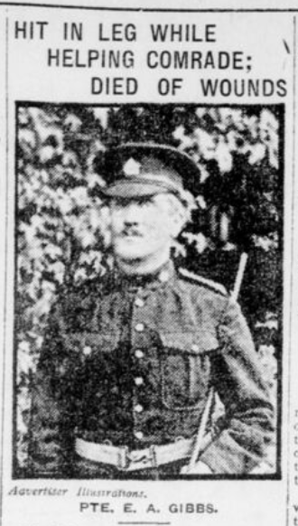 Pte E A Gibbs London Advertiser November 11 1916 Page 2