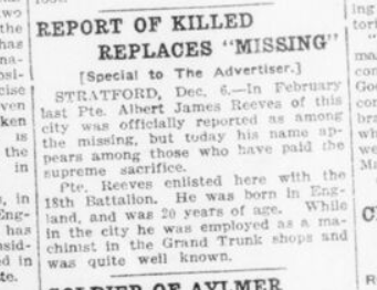 Report of Killed Replaces Missing Reeve London Advertiser. December 7 1916. Page 4.