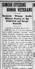 Simcoe Citizens Honor Veterans London Advertiser October 24 1922 Page 12