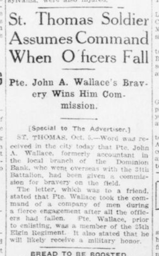 St Thomas Soldier Assumes Command When Officers Fall London Advertiser October 5 1916 Page Unknown