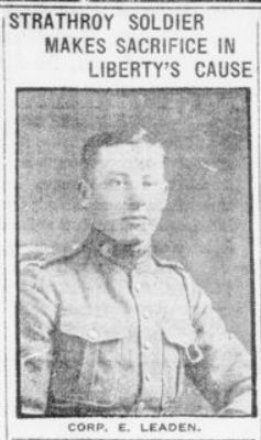 Strathroy Soldier Makes Sacrifice in Libertys Cause London Advertiser. December 1 1916 Page 2 Corp E Leaden