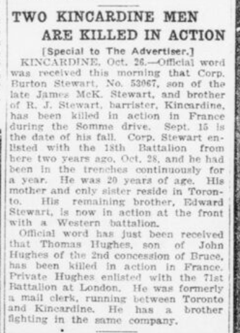 Two Kincardine Men Killed in Action London Advertiser October 27 1916 Page 9