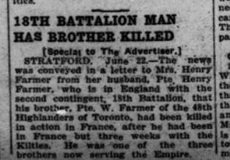 18th Battalion Man Has Brother Killed London Advertiser June 23 1915 Page 4