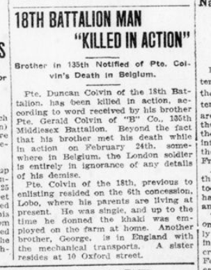 18th Battalion Man Killed in Action London Advertiser March 7 1916 Page 1