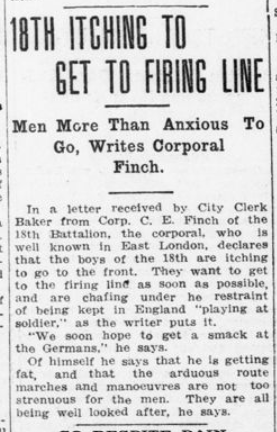 18th Itching to Get to Firing Lind London Advertiser August 12 1915 Page 2