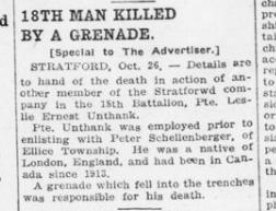 18th Man Killed Buy A Grenade London Advertiser October 27 1915 Page 9