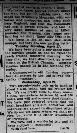 18th Men Had Spendlid Time in Trip Across Atlantic Part 5 London Advertiser May 13 1915 Page 11