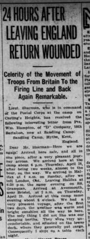 24 Hours After Leaving England Return Wounded Part 1 London Advertiser May 22 1915 Page 3