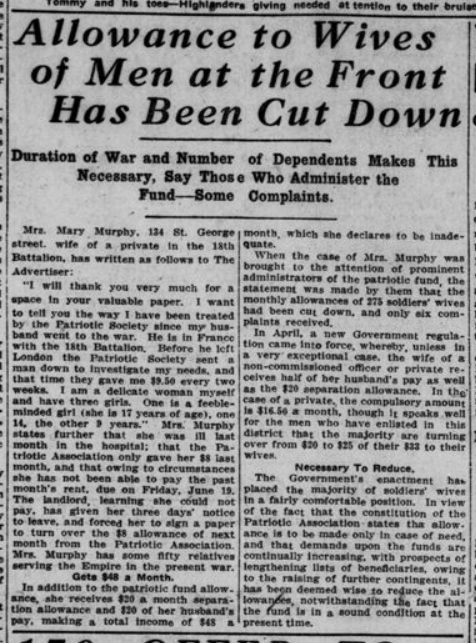 Allowance to Wives of Men at the Front Has Been Cut Down London Advertiser June19 1915 Page 3