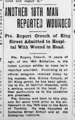 Anothe 18th Man Reported Wounded London Advertiser November 6 1915 Page 1