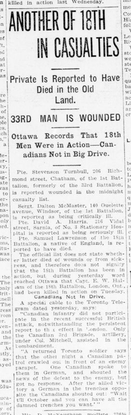 Another of 18th in Casualties London Advertiser October 2 1915 Page 12