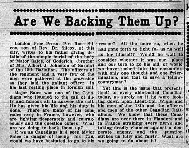 Are We Backing Them Up Sarnia Observer February 15 1916