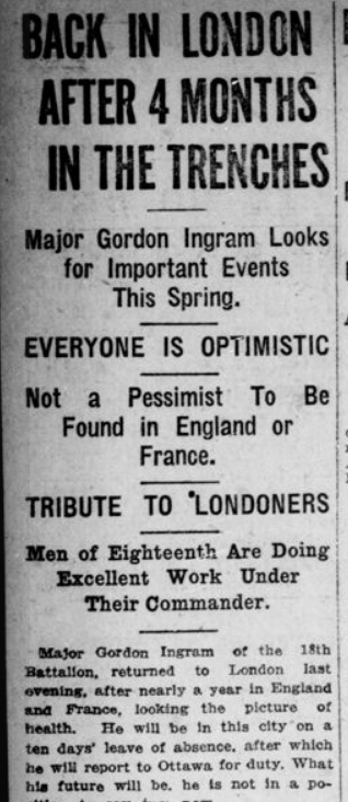 Back in London After 4 Months in the Trenches Ingram Part 1 London Advertiser February 19 1916 Page 4