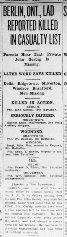 Berlin Ont Lad Reported Killed In Casualty List London Advertiser January 6 1916 Page 10