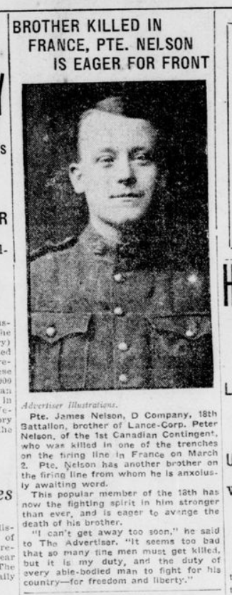 Brother Killed in France PTE Nelson is Eager for Front London Advertiser February 31 1915 Page 1