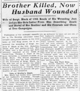 Brother Killed Now Husband Wounded Part 1 London Advertiser December 3 1915 Page 1