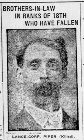Brothers in Law in Ranks of 18th Who Have Fallen Lance Corp Piper London Advertiser December 3 1915 Page 1