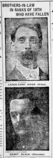 Brothers in Law in Ranks of 18th Who Have Fallen London Advertiser December 3 1915 Page 1