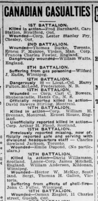 Canadian Casualties London Advertiser December 15 1915 Page 9