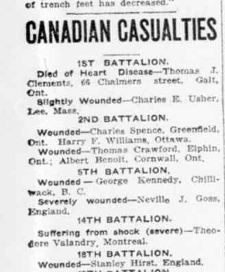 Canadian Casualties London Advertiser December 27 1915 Page 5