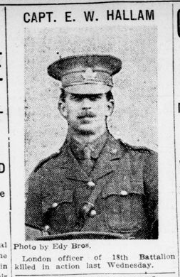 Capt E W Hallam photograph London Advertiser October 2 1915 Page 12