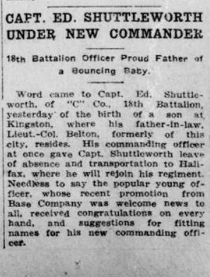 Capt Ed Shuttleworth Under New Commander London Advertiser April 15 1915 Page 1