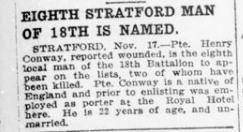 Eight Stratford Man of 18th is Named London Advertiser November 18 1915 Page 9