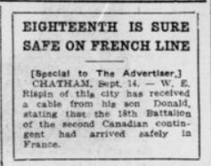 Eighteenth is Sure Safe on French Line London Advertiser September 15 1915 Page 10