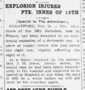 Explosion Injures Pte Innes of 18th London Advertiser February 21 1916 Page 9