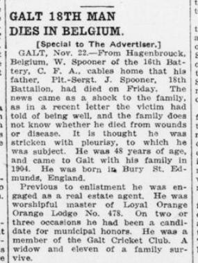 Galt 18th Man Dies in Belgium London Advertiser November 23 1915 Page 9