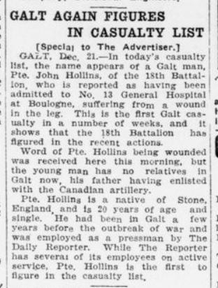 Galt Again Figures in Casualty List London Advertiser December 22 1915 Page 12