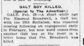 Galt Boy Killed London Advertiser March 1 1916