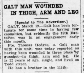 Galt Man Wounded in Thigh Arm and Leg London Advertiser March 1916 Page 9