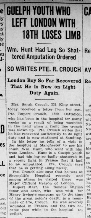 Guelph Youth Who Left London with 18th Losed Limb Advertiser March 1 1916 Page 12