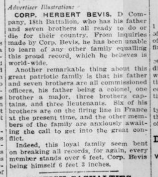 Has Seven Brothers and Dad at Front article London Advertiser April 9 1915 Page 16