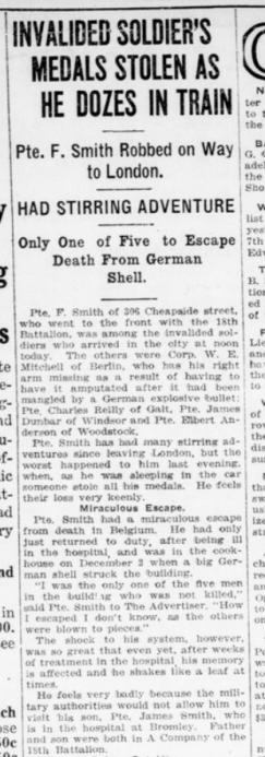 Invalided Soldiers Medals Stolen as He Dozes in Train Part 1 London Advertiser March 31 1916 Page 4