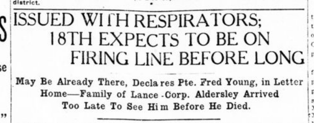 Issued With Respirators 18th Expects to Be On firling Line Before Long Part 1 London Advertiser September 13 1915 Page 12