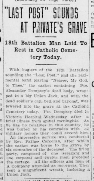 Last Post Sounds at Privates Grave London Advertiser March 27 1915 Page 1