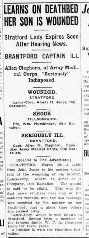 Learns On Deathbaed Her Son Is Wounded London Advertiser March 20 1916 Page 9
