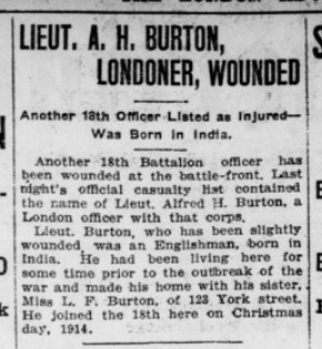 Lieut AH Burton Londoner Wounded London Advertiser March 7 1916 Page 2