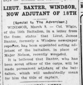 Lieut Baxter Windsor Now Adjutant of 18th London Advertiser March 10 1916 Page 8