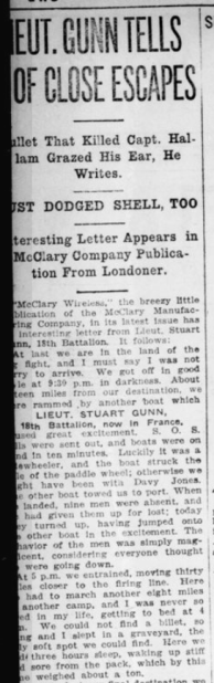 Lieut Gunn Tells of Close Escapes Part 1 London Advertiser December 15 1915 Page 2