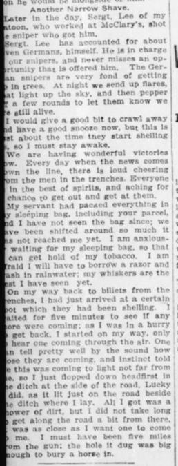 Lieut Gunn Tells of Close Escapes Part 3 London Advertiser December 15 1915 Page 2