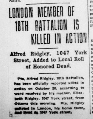London Member of 18th Battalion is Killed in Action London Advertiser November 5 1915 Page 1