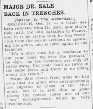 Major Dr Sale Back in Trenches London Advertiser October 28 1915 Page 10