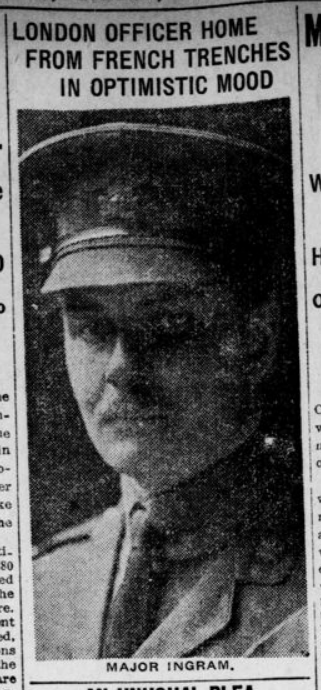 Major Gordon Ingram Photograph London Advertiser February 19 1916 Page 3