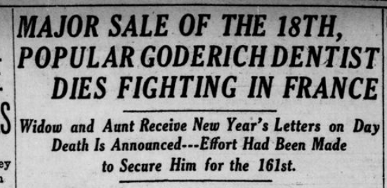 Major Sales of the 18th Popular Goderish Dentist Dies Fighting in France Part 1 London Advertiser January 20 1916 Page 9
