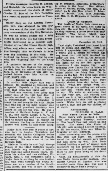 Major Sales of the 18th Popular Goderish Dentist Dies Fighting in France Part 2 London Advertiser January 20 1916 Page 9