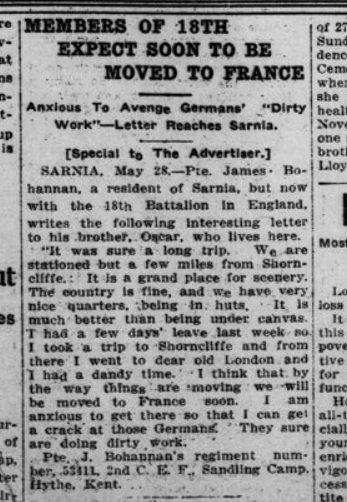 Members of 18th Expect Soonn To Be Moved to France London Advertiser May 29 1915 Page 2