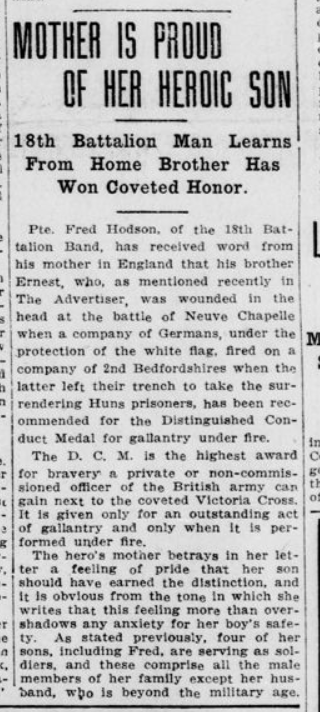 Mother is Proud of Her Heroc Son London Advertiser April 15 1915 Page 1